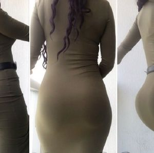 Olive green bodycon / pencil dress